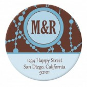 Monogram Brown Blue Sticker Label