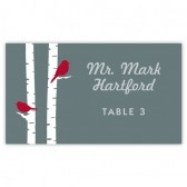 Gray with Red Birds Escort Card