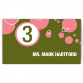 Green Pink Escort Cards
