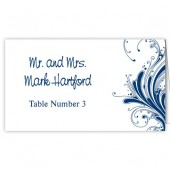 Blue White Escort Cards
