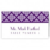 Purple White Escort Cards