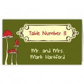 Green Red Mushroom Escort Card