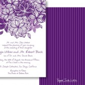 Purple White Invitations