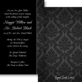 Black White Damask Invitation