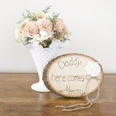 Here Comes Mommy Wood Slice Ring Pillow Alternative