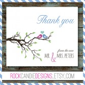 Thank You From the New Mr and Mrs Birds in Tree Stationery Set / Note Cards