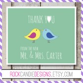 Thank You From The New Mr and Mrs Bird Card Stationery Set