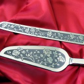 Rose Wedding Cake Server and Knife