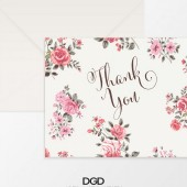Vintage Sweet Rose Thank You Folded Note Card