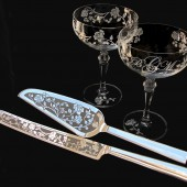 Champagne Coupes and Wedding Cake Server and Knife Set with Roses and Monogram