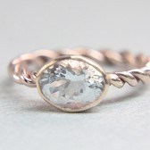 Rose Gold Aquamarine Engagement Ring