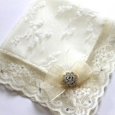 Luxury Swarovski Lace Ivory Wedding Hanky, Mother of Bride Gift, Bridal Shower Gift, Bride All Lace Satin Handkerchief w/ Crystals