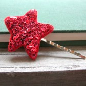 Ruby Stardust Sequin Star Hair Pin