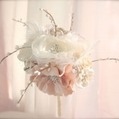 Rustic Chic Bridal Bouquet pearls and crystal brooches handmade flowers bouquet in bride's wedding color choices