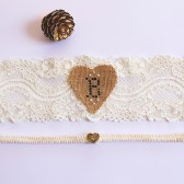 Rustic Personalized Monogram Wedding Lace Garter Set, Ivory Bride Garter, Bridal Garter, Bridal Shower Gift, Burlap Garter, Heart Garter