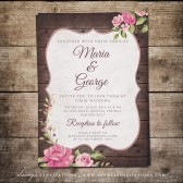 Printable Rustic Wedding Invitation, Wood Wedding Invite, Rustic Floral Wedding Invitation