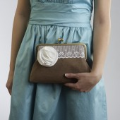 Rustic Clutch with White Flower Brooch