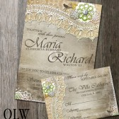 Rustic Lace Wedding Invitation & RSVP