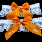 Tangerine Wedding Garter Set