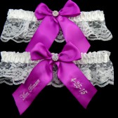 Fuchsia Wedding Garter Set