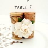 Place Card Holder with Satin Ribbon and Handmade Flowers