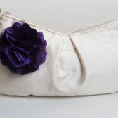 Ivory Silk Wristlet with fabric blossom