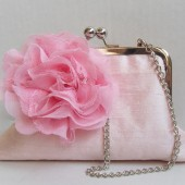 Pink silk bridal bridesmaids clutch
