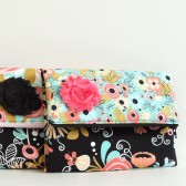 Black floral bridesmaids clutch