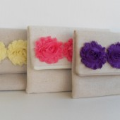 Set of 3 bridesmaids clutches in rustic burlap with fabric flowers