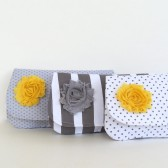 gray and yellow bridesmaids clutch set