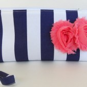 Navy and coral clutch