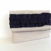 Navy ruffle clutch