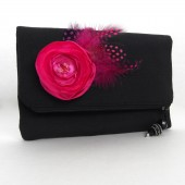 Black and fuschia clutch