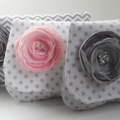 Pink and Gray bridesmaids clutch