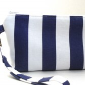 Navy and White wristlet clutch