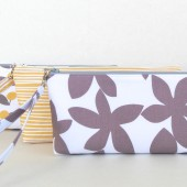 Gray and Yellow wristlet