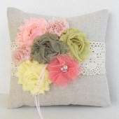 Fabric flower rustic ring pillow