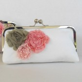 Bridal clutch, pink moss wedding, shabby chic vintage inspired