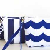 Navy and White Wristlets
