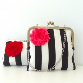 Bridesmaids Clutch Black and White