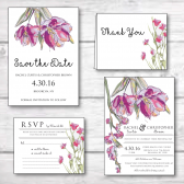 spring flowers, flowers, pink flowers, purple flowers, save the date, wedding invitation, floral wedding stationery