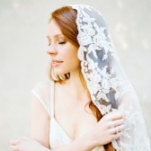 Style 312 - Beaded Lace Mantilla Veil