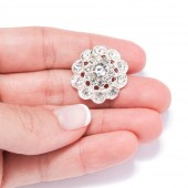 SILVER FLOWER WEDDING BUTTONS 702