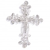 SILVER RHINESTONE CROSS BROOCH 414
