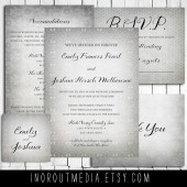 Silver Swirls Rustic Invitation Suite