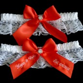 Dark Coral Bridal Garter Set