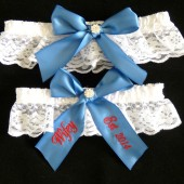 Antique Blue Bridal Garter Set