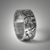 Rustic silver wedding band for men