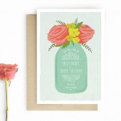 Mason Jar, Floral Save The Date