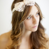 Champagne pink lace bow headband